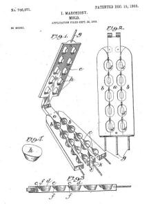 This diagram is from Marchiony's 1903 patent application, illustrating his ice cream cup mold