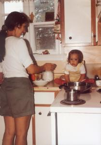 1 yr old Mary on Kitchen Counter-1990